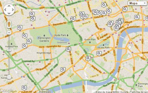Mapa de hotspots de O2 en Londres